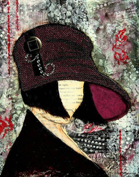 Hat Mixed Media - Purple Retro Style Hat With Abstract Background by Janelle Nichol
