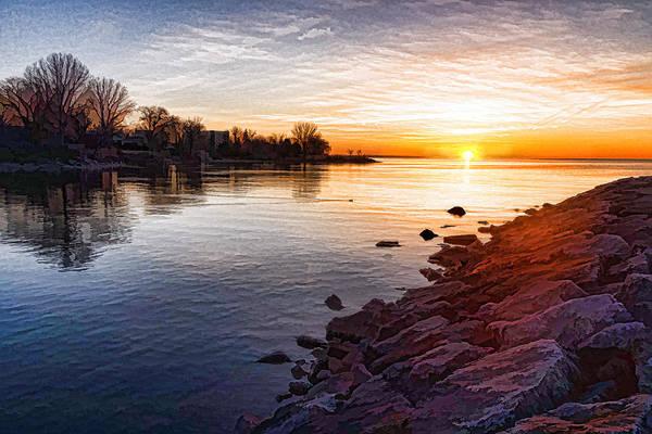 Digital Art - Purple Rocks Sunrise - Lake Ontario Impressions by Georgia Mizuleva