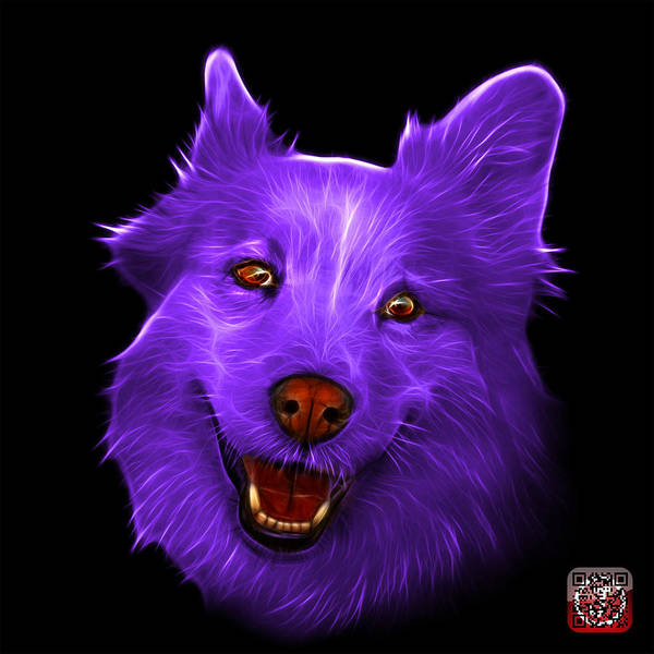 Painting - Purple Siberian Husky Mix Dog Pop Art - 5060 Bb by James Ahn