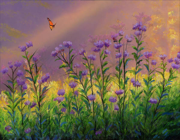 Wall Art - Painting - Purple Statice Flowers by Cecilia Brendel