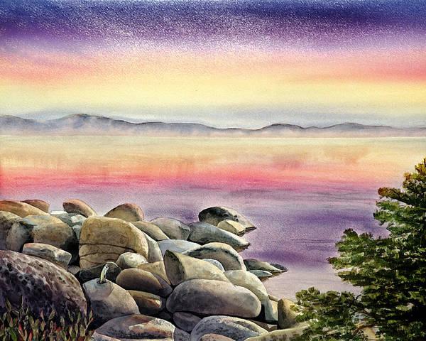 Mountain Lake Painting - Purple Sunset At The Lake by Irina Sztukowski