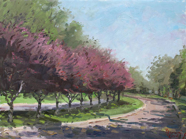 Blooming Tree Painting - Purple Trees  by Ylli Haruni