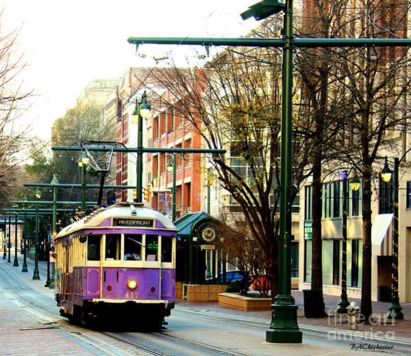 Memphis Design Wall Art - Photograph - Purple Trolley by Barbara Chichester