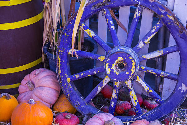 Wall Art - Photograph - Purple Wagon Wheel by Garry Gay