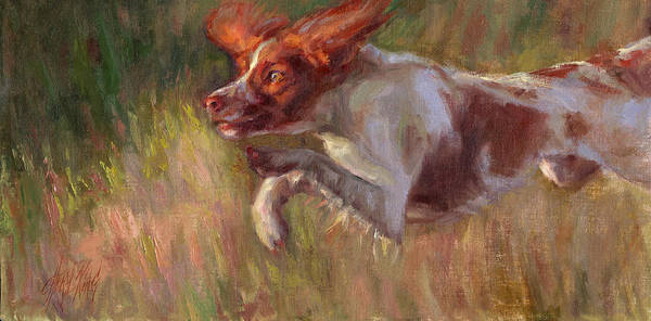 Field Spaniel Painting - Pursuit by Cheryl King