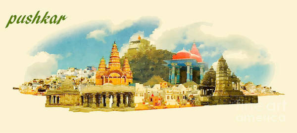 Wall Art - Digital Art - Pushkar City Panoramic Vector Water by Trentemoller