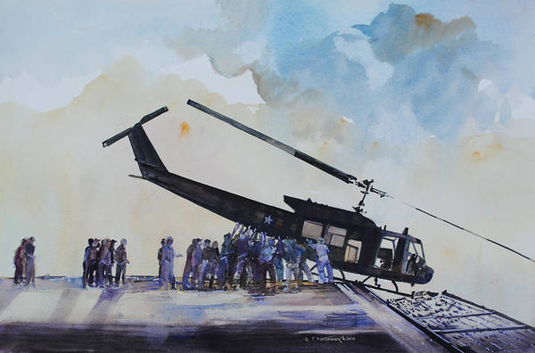 Helicopter Painting - Pushover - South China Sea 1975 by P Anthony Visco