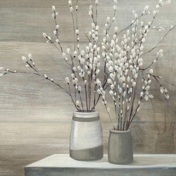 Pussy Painting - Pussy Willow Still Life Gray Pots Crop by Julia Purinton