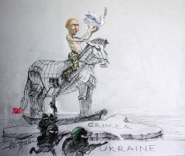 Russia Wall Art - Mixed Media - Putin's Surprising Crimea Visit by Ylli Haruni