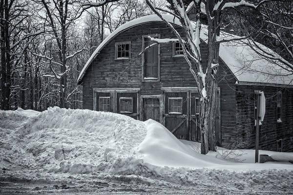 Photograph - Putney Falls Barn Black And White by Tom Singleton