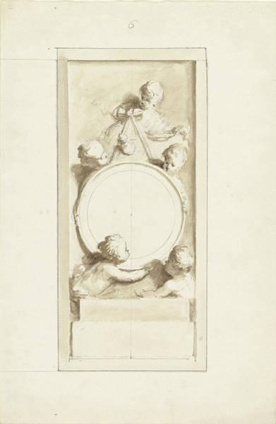 1715 Drawing - Putti Around A Medallion, Dionys Van Nijmegen by Quint Lox