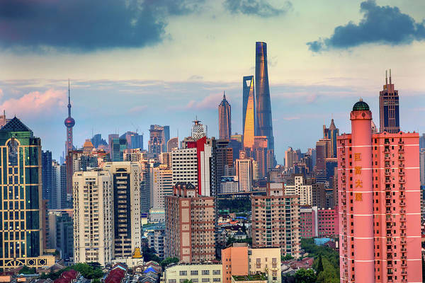 Wall Art - Photograph - Puxi Pudong Buildings World Financial by William Perry
