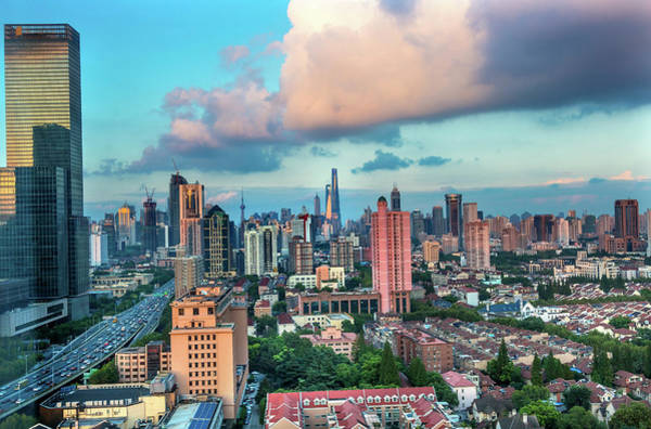 Wall Art - Photograph - Puxi Pudong Buildings World Modern by William Perry