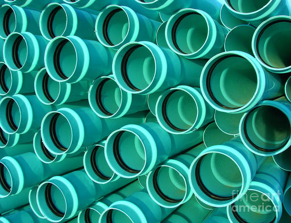 Housing Project Photograph - Pvc Pipes by Olivier Le Queinec