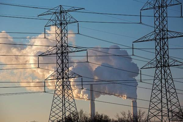 Plume Photograph - Pylons And Power Station by Jim West