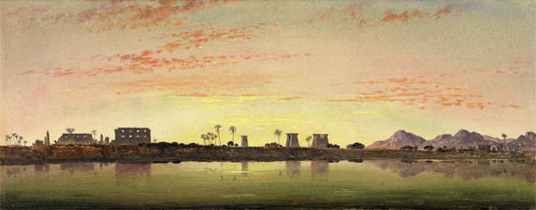 Pylon Painting - Pylons At Karnak, The Theban Mountains In The Distance by Litz Collection