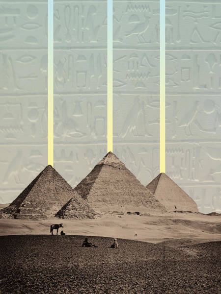 Hieroglyphs Digital Art - Pyramids Hieroglyphs Spotlights by