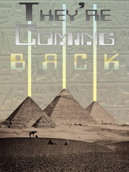 Hieroglyphs Digital Art - Pyramids Ufo Landing Site by