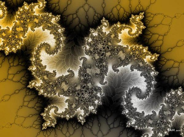 Silver And Gold Digital Art - Pyrite Runs Through It by Elizabeth McTaggart
