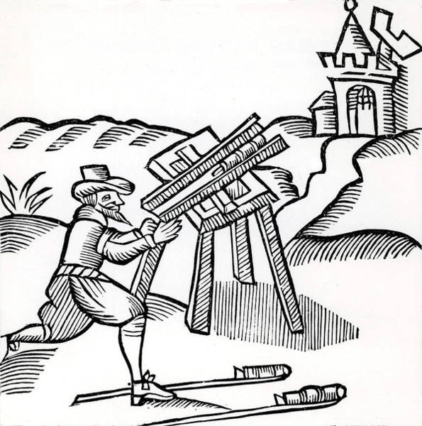 Woodcut Photograph - Pyrotechnist Firing A Rocket by Universal History Archive/uig