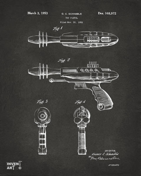 Wall Art - Digital Art - Pyrotomic Disintegrator Pistol Patent Gray by Nikki Marie Smith
