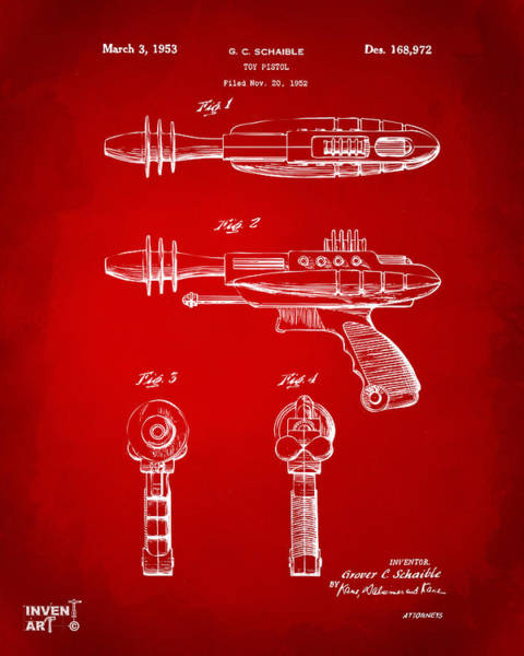 Wall Art - Digital Art - Pyrotomic Disintegrator Pistol Patent Red by Nikki Marie Smith