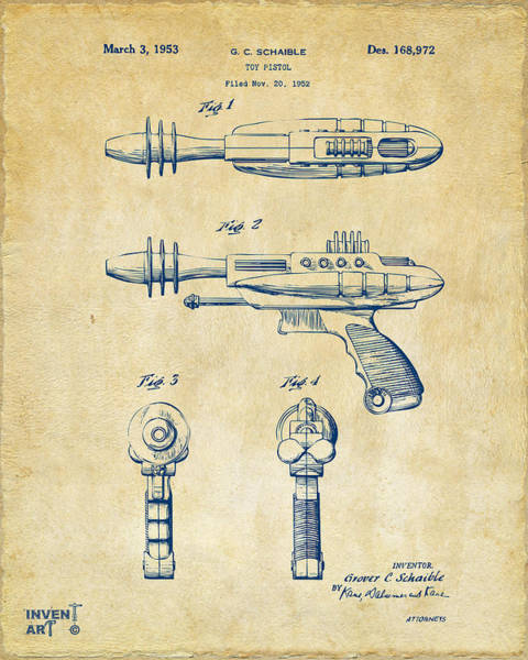 Wall Art - Digital Art - Pyrotomic Disintegrator Pistol Patent Vintage by Nikki Marie Smith