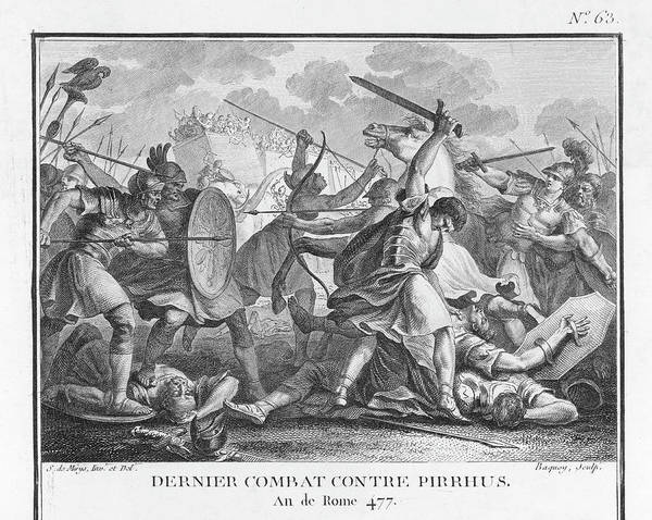 Roman Soldier Drawing - Pyrrhus, King Of Epirus, Fighting by Mary Evans Picture Library