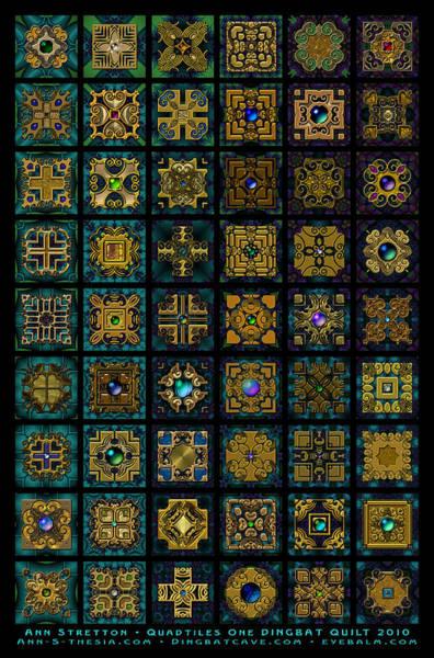 Quadtiles One Dingbat Quilt Art Print