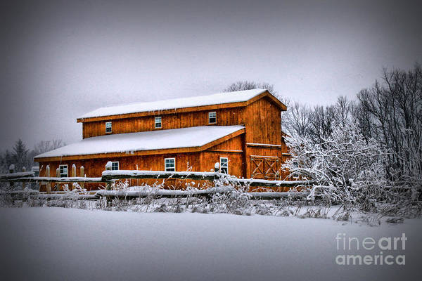 Photograph - Quaint Barn In The Snow by Life With Horses