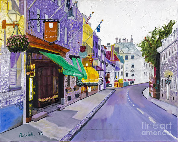 Quebec Painting - Quaint Quebec City By Stan Bialick by Sheldon Kralstein