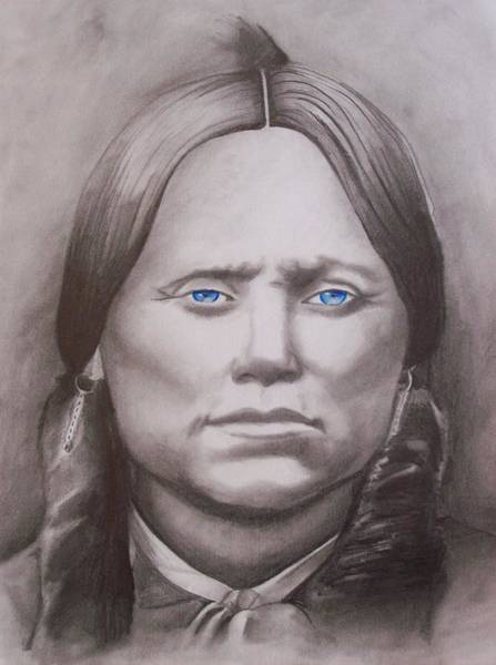 Amber Drawing - Quanah Parker by Amber Stanford