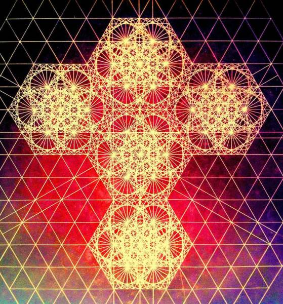 Sacred Geometry Drawing - Quantum Cross Hand Drawn by Jason Padgett