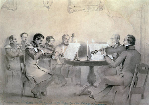 Epaulette Photograph - Quartet Of The Composer Count A. F. Lvov, 1840 Pencil On Paper by R. Rorbach