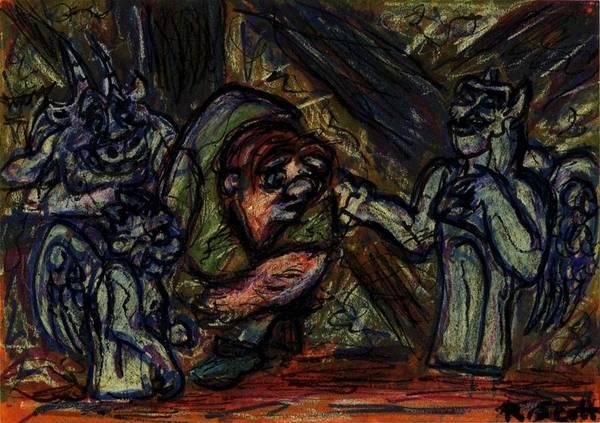 Drawing - Quasimodo With Gargoyles by Rachel Scott