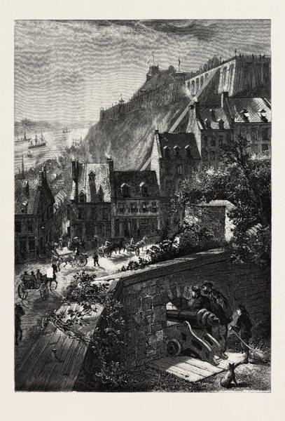 Quebec City Drawing - Quebec, A Glimpse From The Old City Wall by Canadian School