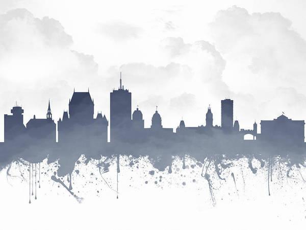 Quebec City Digital Art - Quebec City Skyline - Blue 03 by Aged Pixel