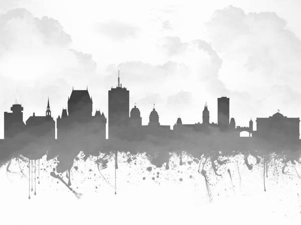 Quebec City Digital Art - Quebec City Skyline - Gray 03 by Aged Pixel