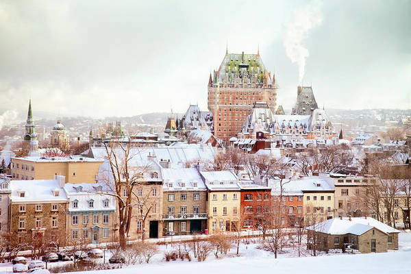 Quebec Photograph - Quebec City Winter Skyline With Chateau by Nicolasmccomber