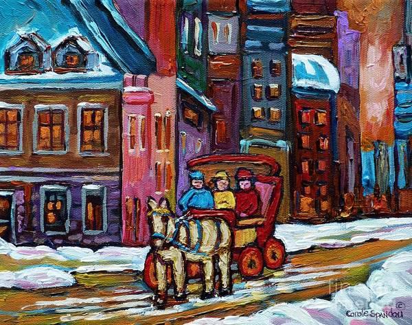 Painting - Quebec Paintings Old City Vieux Port Montreal Art Winter Wonderland Caleche And Horse Carole Spandau by Carole Spandau