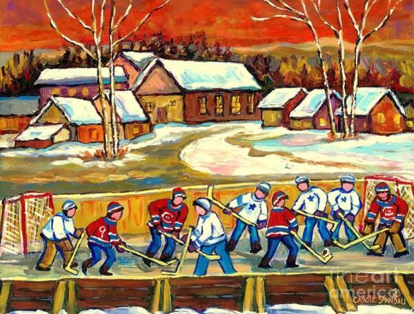 Painting - Quebec Rink Hockey Village Scene Canadian Winter Landscape Hockey Practice Orange Sky Carole Spandau by Carole Spandau