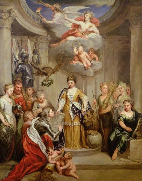 Allegory Photograph - Queen Anne Presenting Plans Of Blenheim To Military Merit Oil On Canvas by Sir Godfrey Kneller