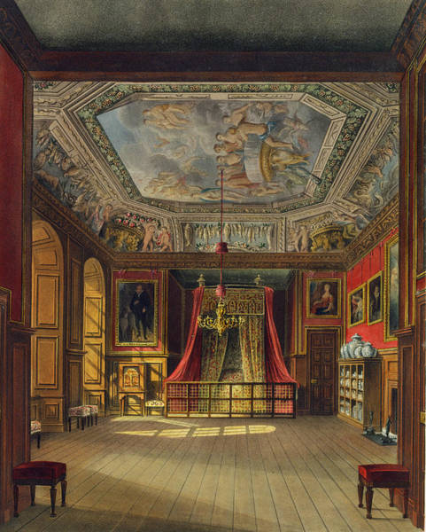1665 Wall Art - Drawing - Queen Annes Bed, Windsor Castle by Charles Wild