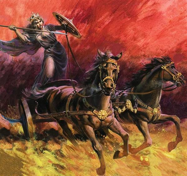 Chariot Wall Art - Drawing - Queen Boadicea by Andrew Howat