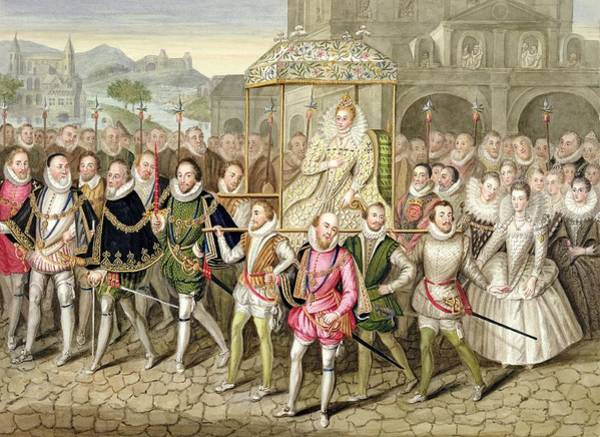 Elizabethan Wall Art - Drawing - Queen Elizabeth I In Procession by Sarah Countess of Essex