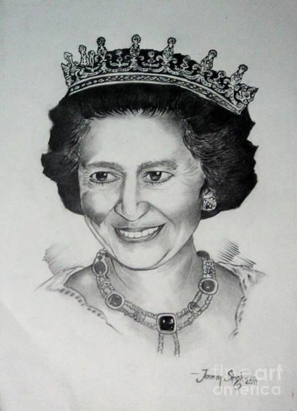 Singh Drawing - Queen Elizabeth II by Tanmay Singh