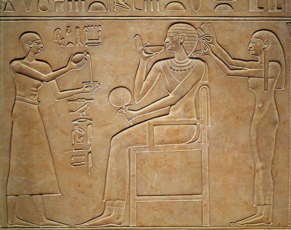 Hieroglyph Photograph - Queen Kawit At Her Toilet, From The Sarcophagus Of Queen Kawit by Egyptian 11th Dynasty