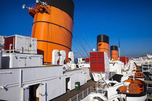 Lifeboat Photograph - Queen Mary Smoke Stacks by Garry Gay