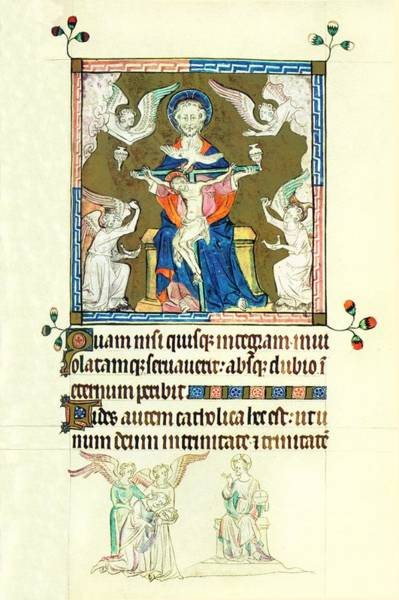 Painting - Queen Marys Psalter Trinity by Anonymous