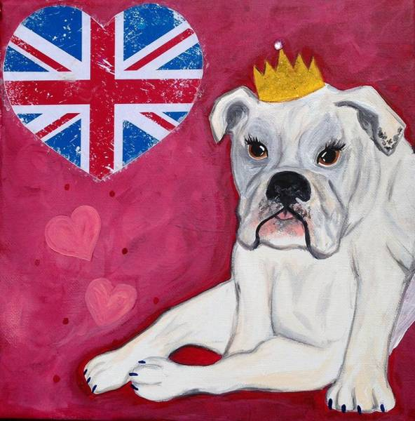 English Bulldog Painting - Queen Milly  by Nicole  Mackenzie